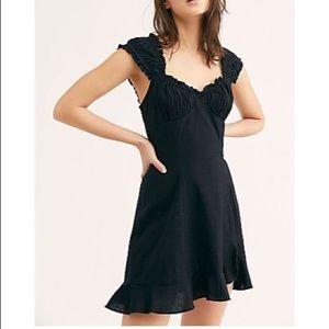 Free People Like a Lady Mini Dress Black SMALL